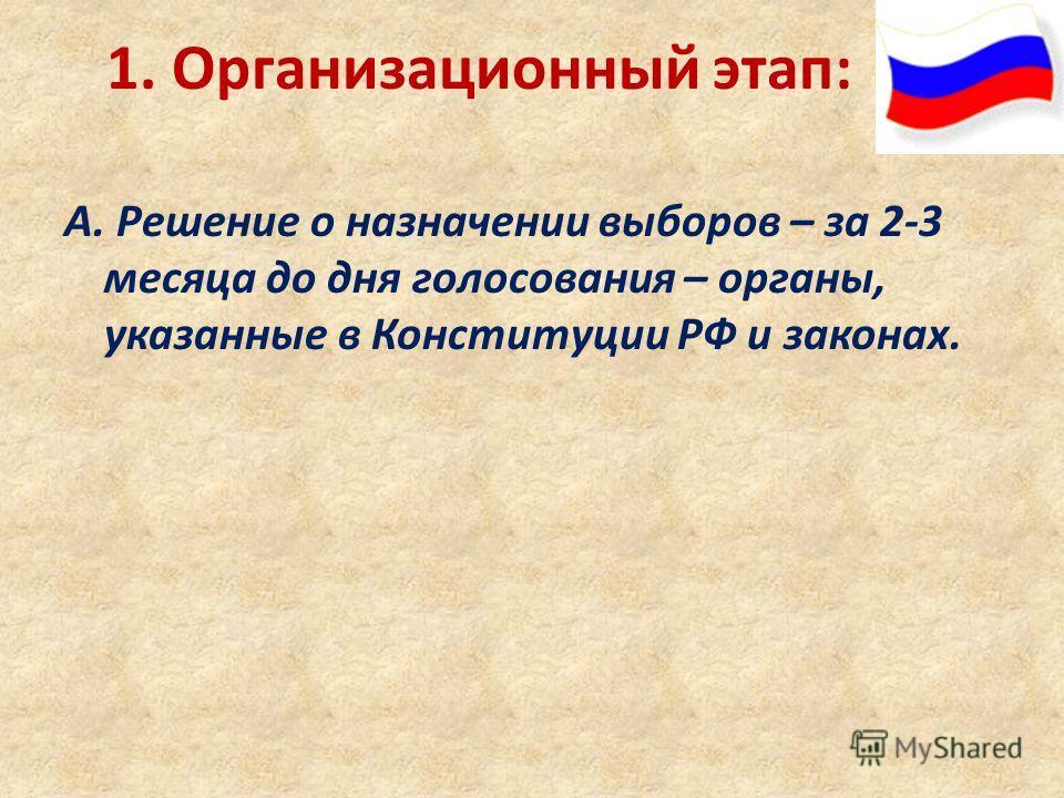 1. Организационный этап: А. Решение о назначении выборов – за 2-3 месяца до дня голосования – органы, указанные в Конституции РФ и законах.