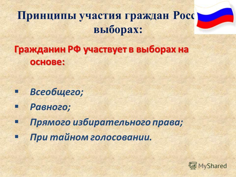 Принципы участия граждан России в выборах: Гражданин РФ участвует в выборах на основе: Всеобщего; Равного; Прямого избирательного права; При тайном голосовании.