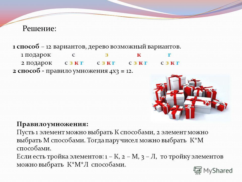 Решение: 1 способ – 12 вариантов, дерево возможный вариантов. 1 подарок с з к г 2 подарок с з к г с з к г с з к г с з к г 2 способ - правило умножения 4х3 = 12. Правило умножения: Пусть 1 элемент можно выбрать К способами, 2 элемент можно выбрать М с
