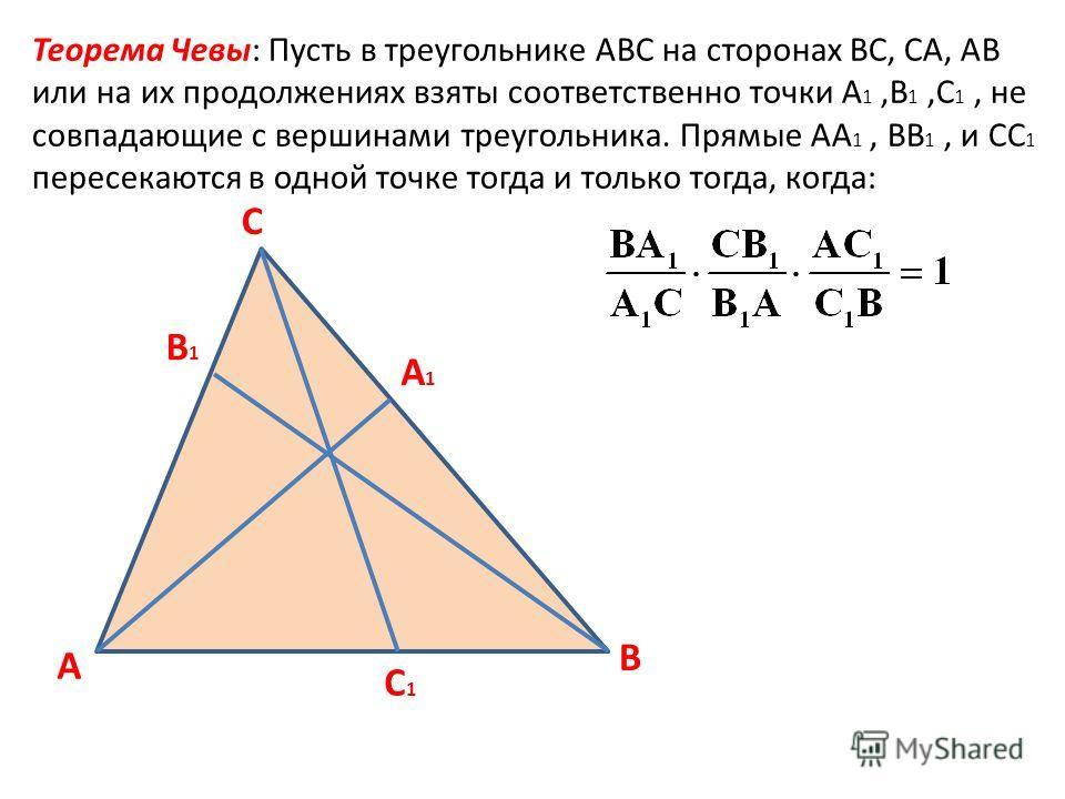 A C1C1 C B1B1 B A1A1 Теорема Чевы: Пусть в треугольнике АВС на сторонах ВС, СА, АВ или на их продолжениях взяты соответственно точки А 1,В 1,С 1, не совпадающие с вершинами треугольника. Прямые АА 1, ВВ 1, и СС 1 пересекаются в одной точке тогда и то