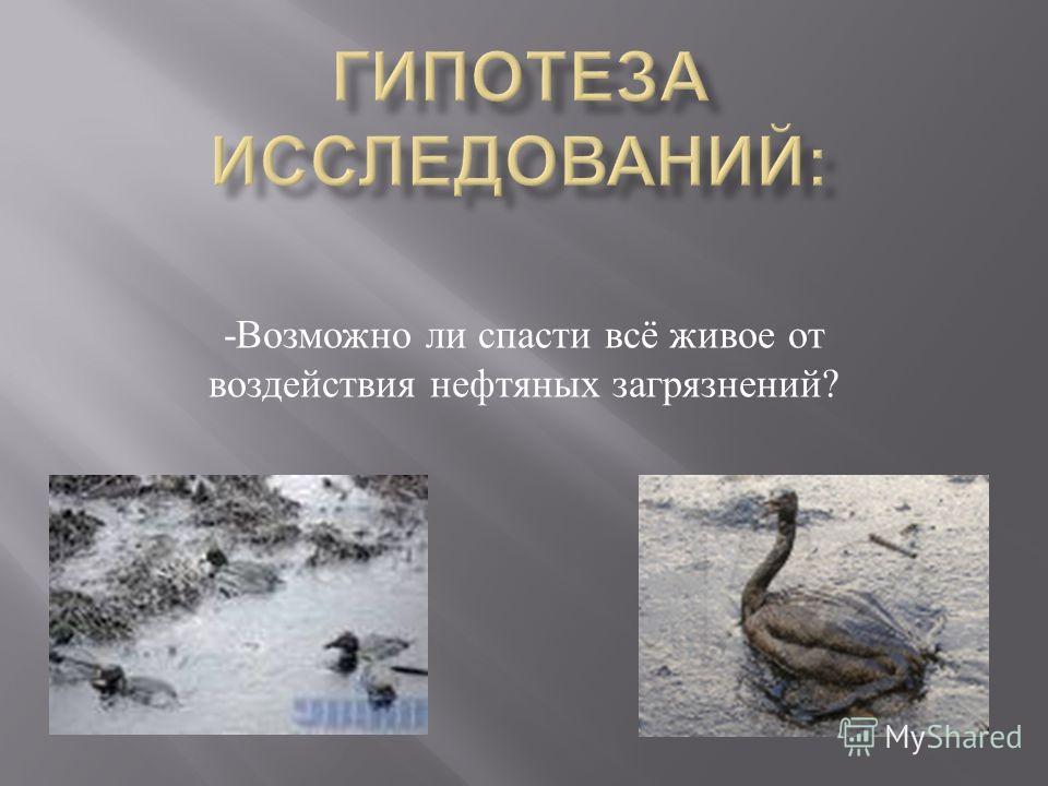 - Возможно ли спасти всё живое от воздействия нефтяных загрязнений ?