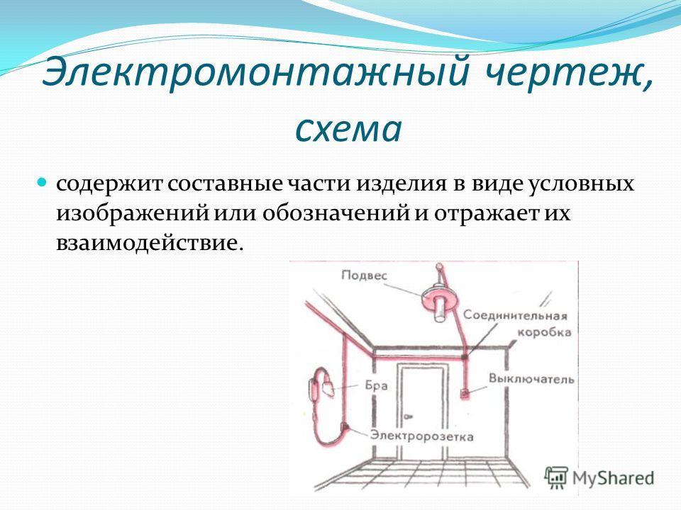 Электромонтажный чертеж, с хема содержит составные части изделия в виде условных изображений или обозначений и отражает их взаимодействие.