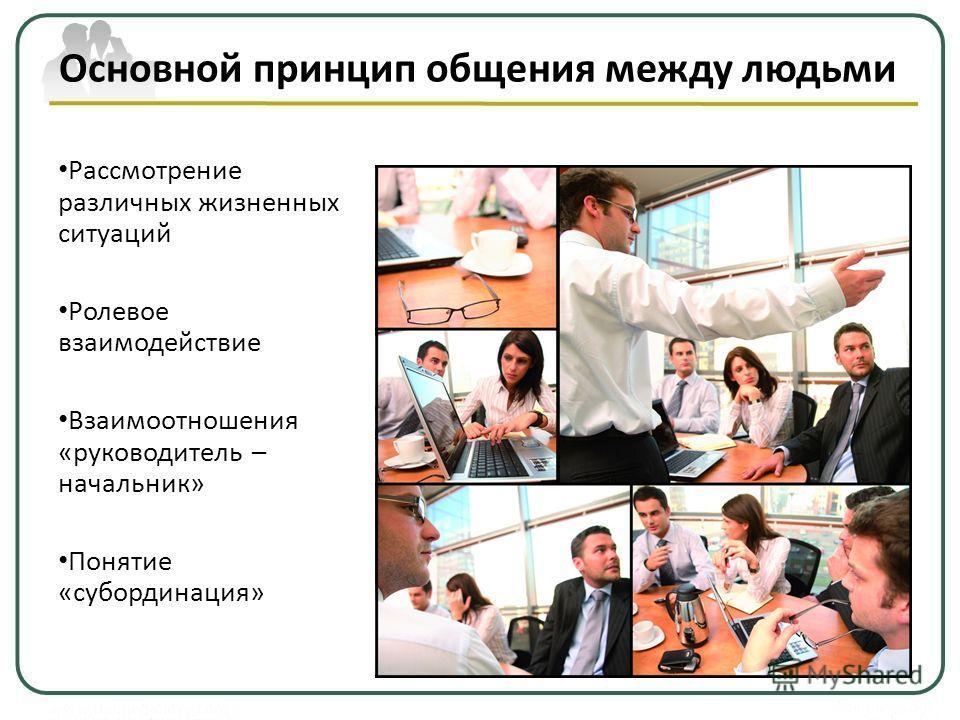 Основной принцип общения между людьми Рассмотрение различных жизненных ситуаций Ролевое взаимодействие Взаимоотношения «руководитель – начальник» Понятие «субординация»