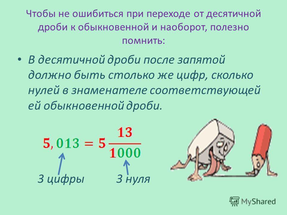 Чтобы не ошибиться при переходе от десятичной дроби к обыкновенной и наоборот, полезно помнить: В десятичной дроби после запятой должно быть столько же цифр, сколько нулей в знаменателе соответствующей ей обыкновенной дроби. 3 цифры 3 нуля