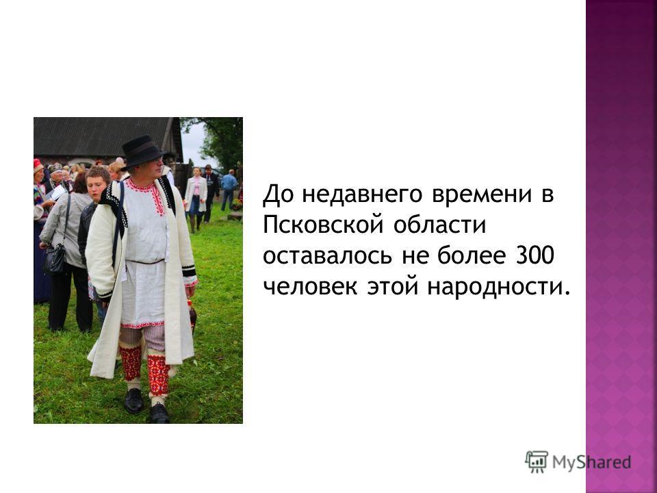 До недавнего времени в Псковской области оставалось не более 300 человек этой народности.