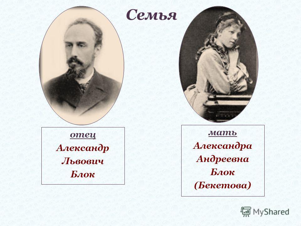Семья отец Александр Львович Блок мать Александра Андреевна Блок (Бекетова)