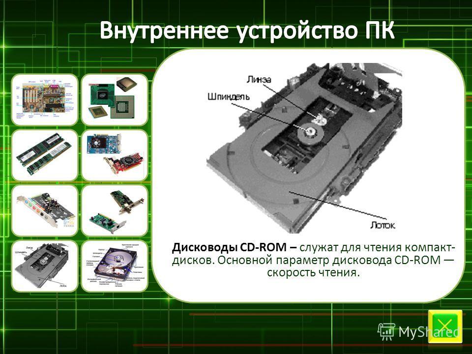 Дисководы CD-ROM – служат для чтения компакт- дисков. Основной параметр дисковода CD-ROM скорость чтения.