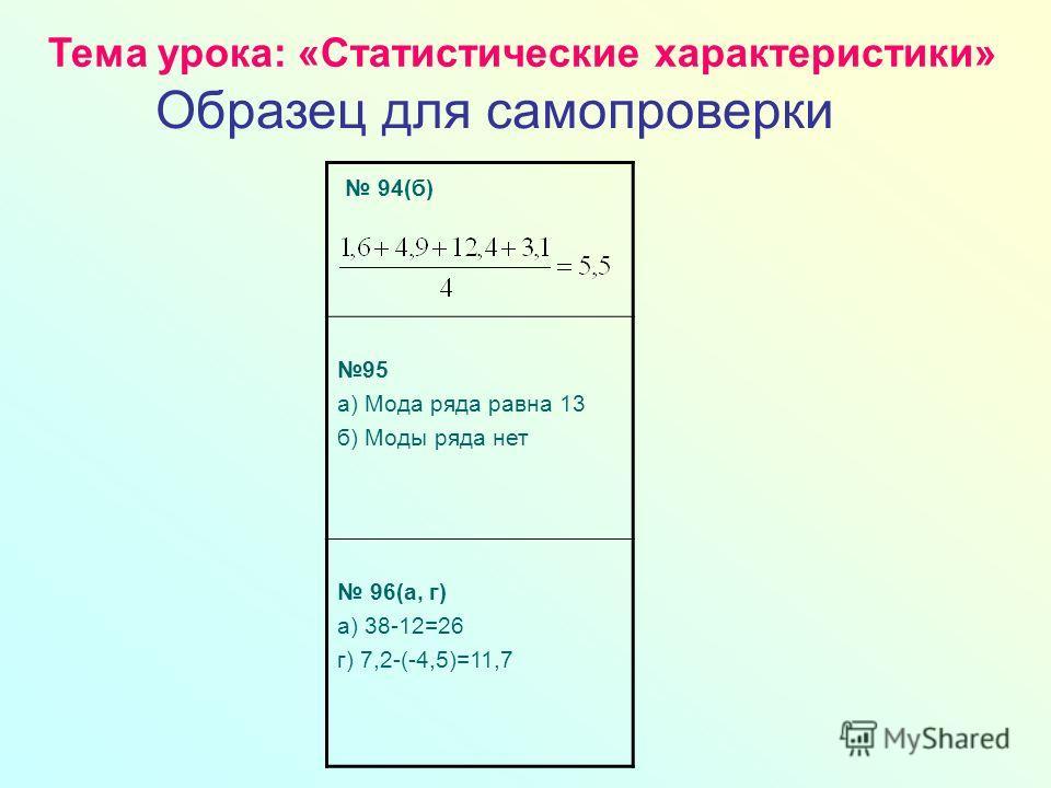94(б) 95 а) Мода ряда равна 13 б) Моды ряда нет 96(а, г) а) 38-12=26 г) 7,2-(-4,5)=11,7 Тема урока: «Статистические характеристики» Образец для самопроверки