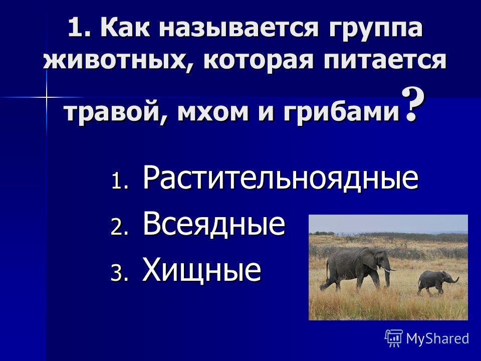 1. Как называется группа животных, которая питается травой, мхом и грибами ? 1. Р астительноядные 2. В сеядные 3. Х ищные