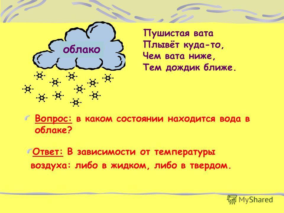 Пушистая вата Плывёт куда-то, Чем вата ниже, Тем дождик ближе. Вопрос: в каком состоянии находится вода в облаке? облако Ответ: В зависимости от температуры воздуха: либо в жидком, либо в твердом.