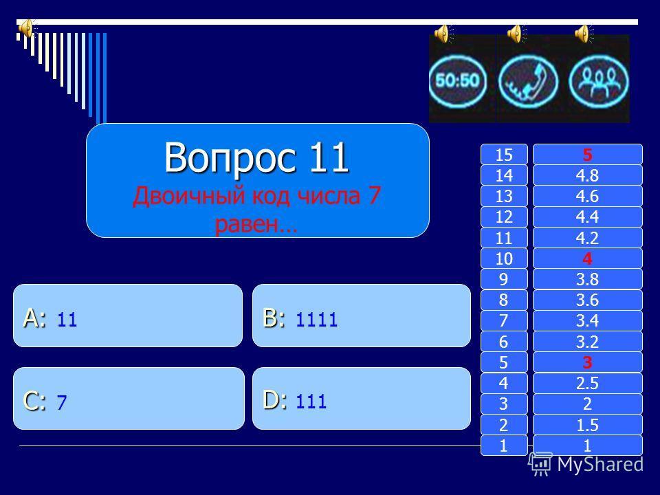Вопрос 10 Для чего память компьютера не предназначена? B: B: хранение информации A: A: преобразование информации D: D: выдача информации C: C: запись информации 11 2 3 4 5 6 7 8 9 10 11 12 13 14 15 1.5 2 2.5 3 3.2 3.4 3.6 3.8 4 4.2 4.4 4.6 4.8 5