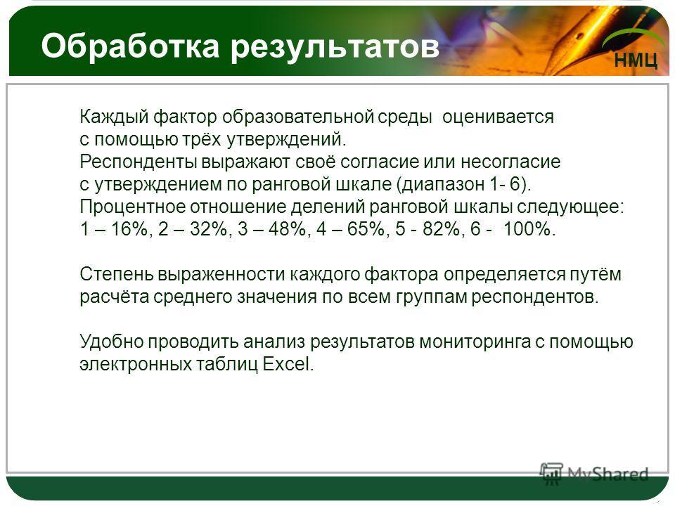 НМЦ Обработка результатов Каждый фактор образовательной среды оценивается с помощью трёх утверждений. Респонденты выражают своё согласие или несогласие с утверждением по ранговой шкале (диапазон 1- 6). Процентное отношение делений ранговой шкалы след
