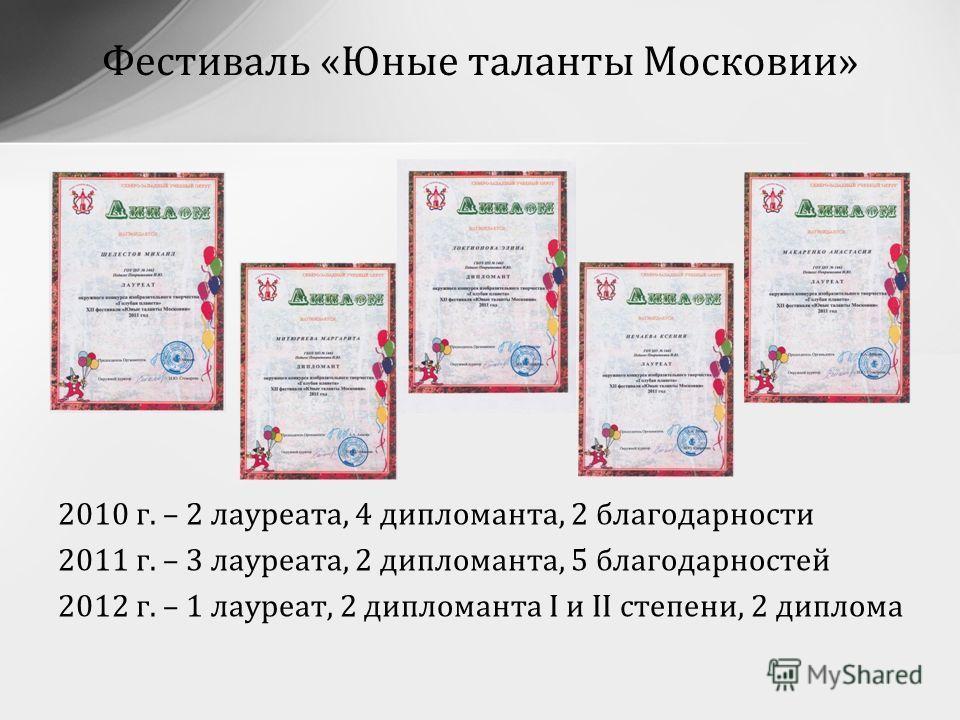 2010 г. – 2 лауреата, 4 дипломанта, 2 благодарности 2011 г. – 3 лауреата, 2 дипломанта, 5 благодарностей 2012 г. – 1 лауреат, 2 дипломанта I и II степени, 2 диплома Фестиваль «Юные таланты Московии»