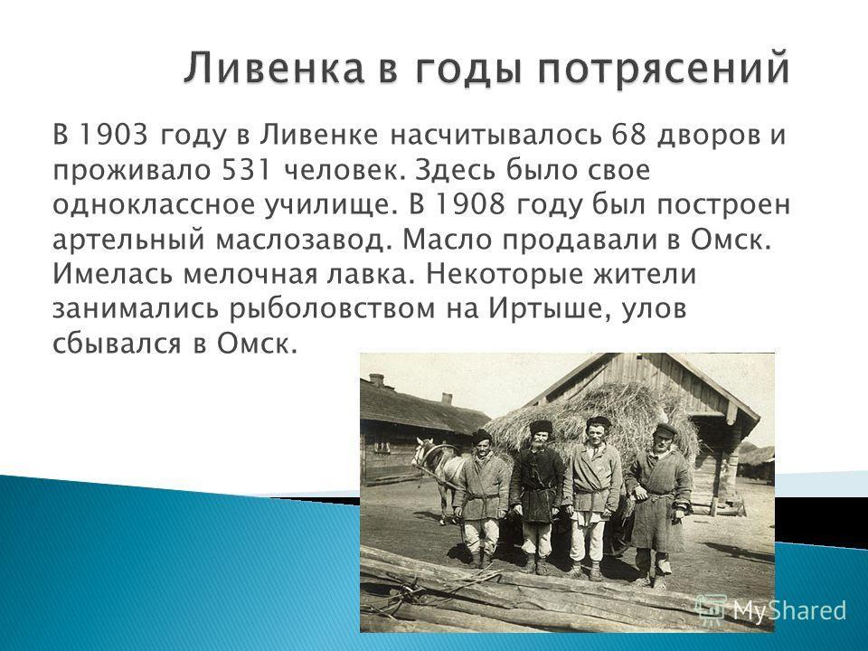В 1903 году в Ливенке насчитывалось 68 дворов и проживало 531 человек. Здесь было свое одноклассное училище. В 1908 году был построен артельный маслозавод. Масло продавали в Омск. Имелась мелочная лавка. Некоторые жители занимались рыболовством на Ир