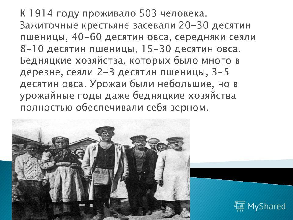 К 1914 году проживало 503 человека. Зажиточные крестьяне засевали 20-30 десятин пшеницы, 40-60 десятин овса, середняки сеяли 8-10 десятин пшеницы, 15-30 десятин овса. Бедняцкие хозяйства, которых было много в деревне, сеяли 2-3 десятин пшеницы, 3-5 д