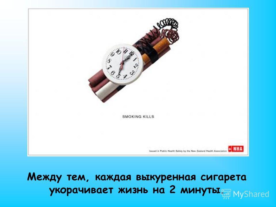 Между тем, каждая выкуренная сигарета укорачивает жизнь на 2 минуты.