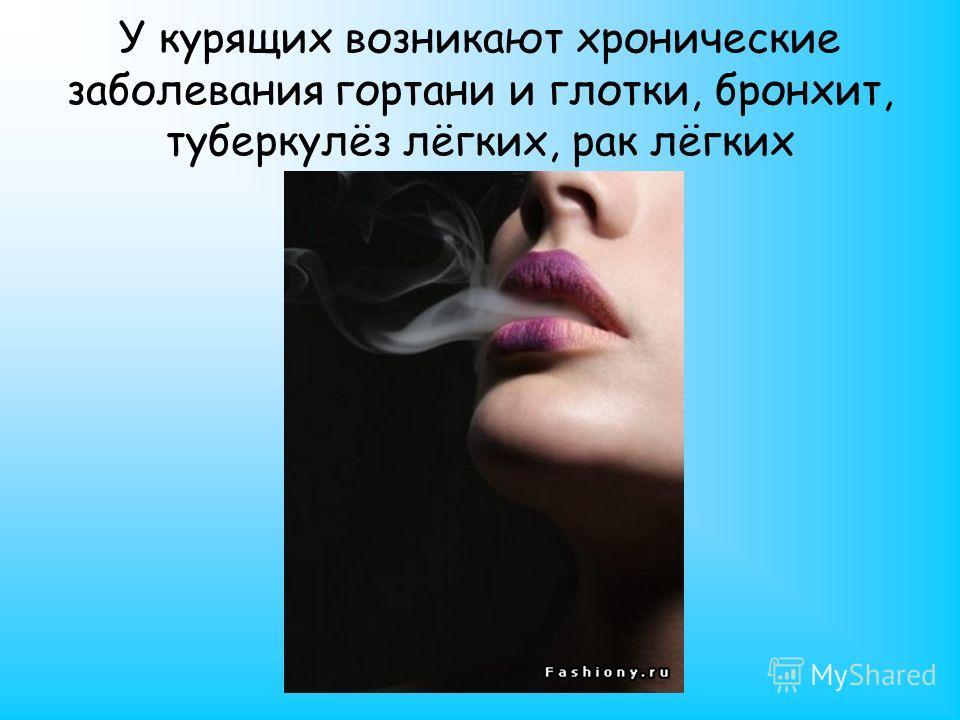У курящих возникают хронические заболевания гортани и глотки, бронхит, туберкулёз лёгких, рак лёгких