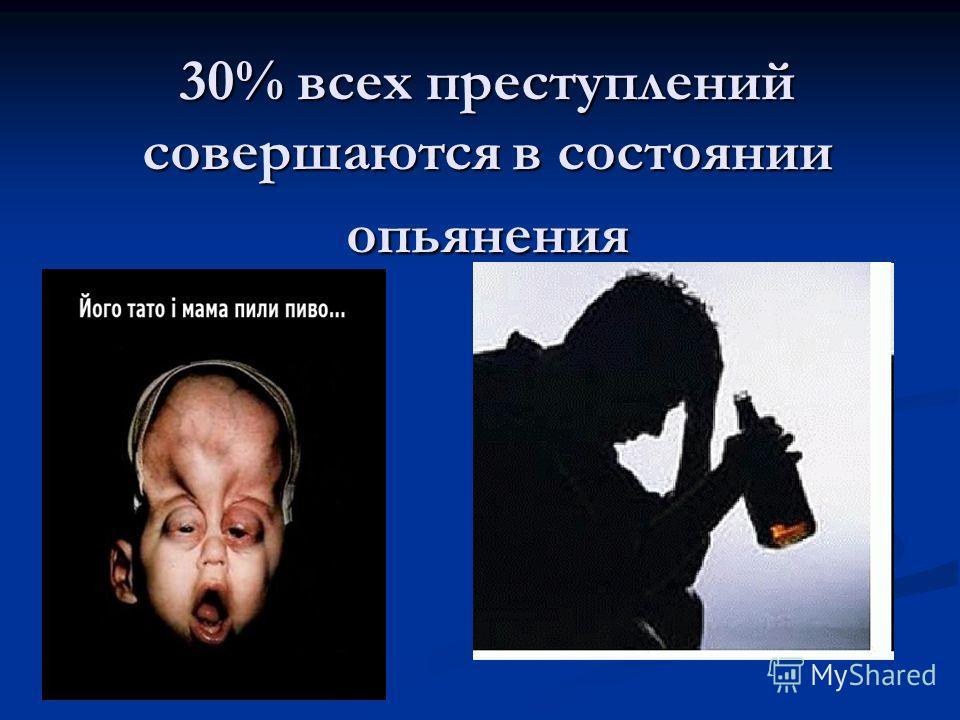 30% всех преступлений совершаются в состоянии опьянения