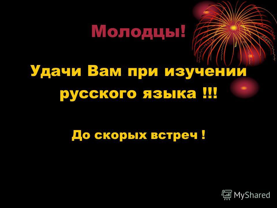 Молодцы! Удачи Вам при изучении русского языка !!! До скорых встреч !