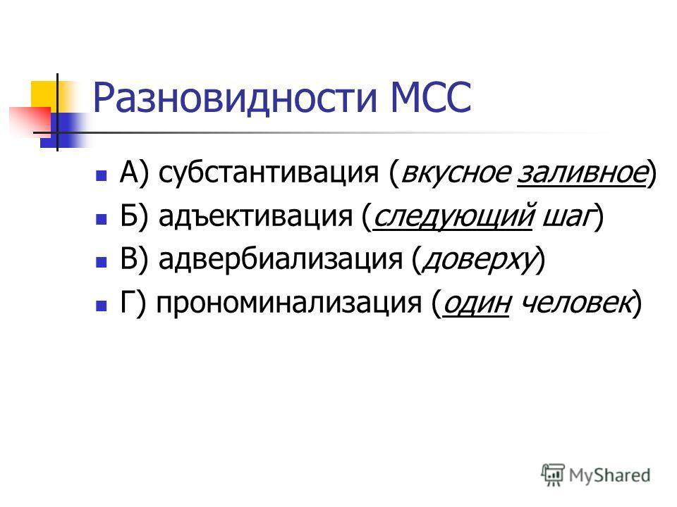 Разновидности МСС А) субстантивация (вкусное заливное) Б) адъективация (следующий шаг) В) адвербиализация (доверху) Г) прономинализация (один человек)