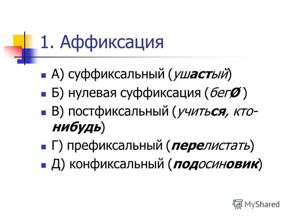 1. Аффиксация А) суффиксальный (ушастый) Б) нулевая суффиксация (бегØ ) В) постфиксальный (учиться, кто- нибудь) Г) префиксальный (перелистать) Д) конфиксальный (подосиновик)