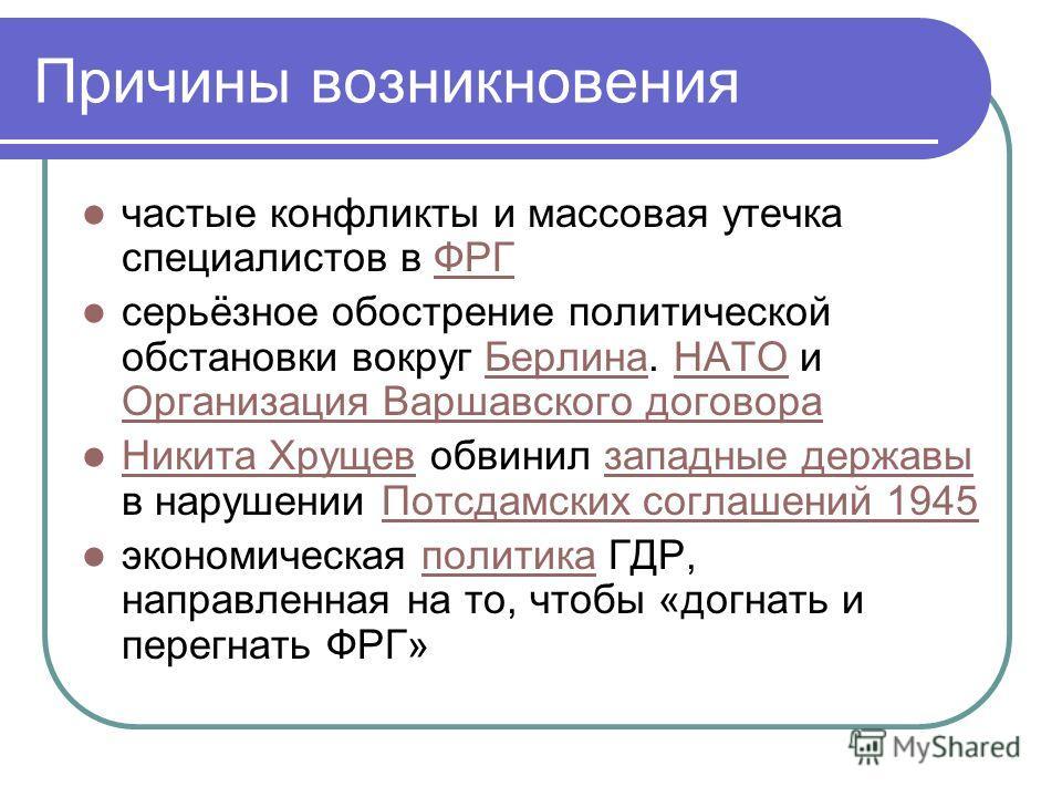 Причины возникновения частые конфликты и массовая утечка специалистов в ФРГФРГ серьёзное обострение политической обстановки вокруг Берлина. НАТО и Организация Варшавского договораБерлинаНАТО Организация Варшавского договора Никита Хрущев обвинил запа