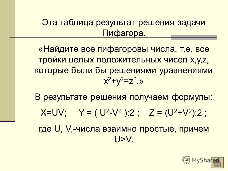 XYZ 345 51213 15817 72425 212029 351237 94041 452853 631665 Таблица «пифагоровых троек»