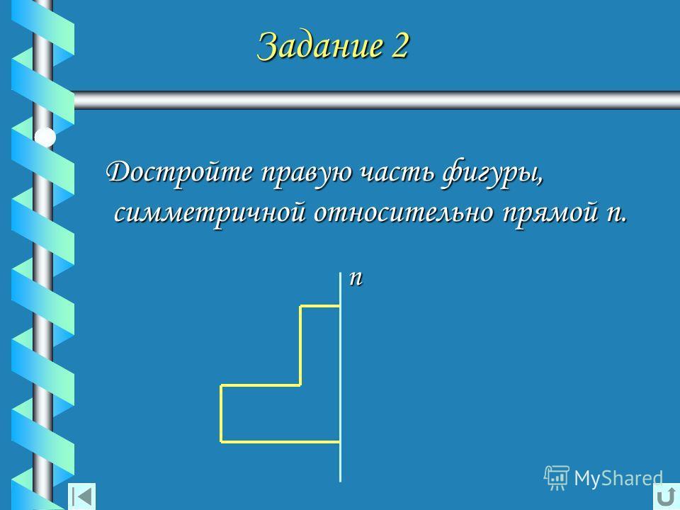 Задание 2 Задание 2 Достройте правую часть фигуры, симметричной относительно прямой n.n.n.n. n