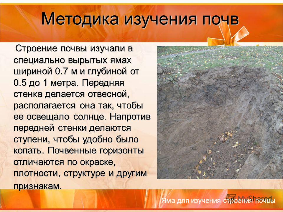 Методика изучения почв Строение почвы изучали в специально вырытых ямах шириной 0.7 м и глубиной от 0.5 до 1 метра. Передняя стенка делается отвесной, располагается она так, чтобы ее освещало солнце. Напротив передней стенки делаются ступени, чтобы у