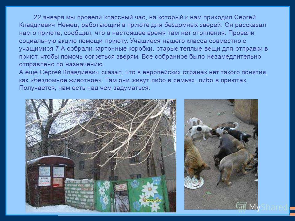 22 января мы провели классный час, на который к нам приходил Сергей Клавдиевич Немец, работающий в приюте для бездомных зверей. Он рассказал нам о приюте, сообщил, что в настоящее время там нет отопления. Провели социальную акцию помощи приюту. Учащи