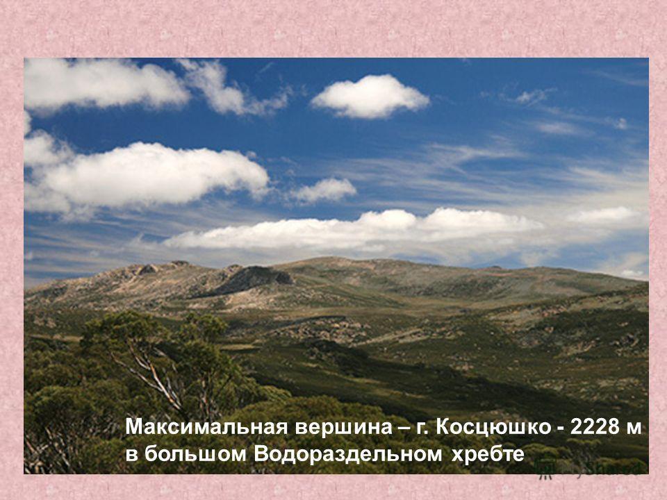 Максимальная вершина – г. Косцюшко - 2228 м в большом Водораздельном хребте