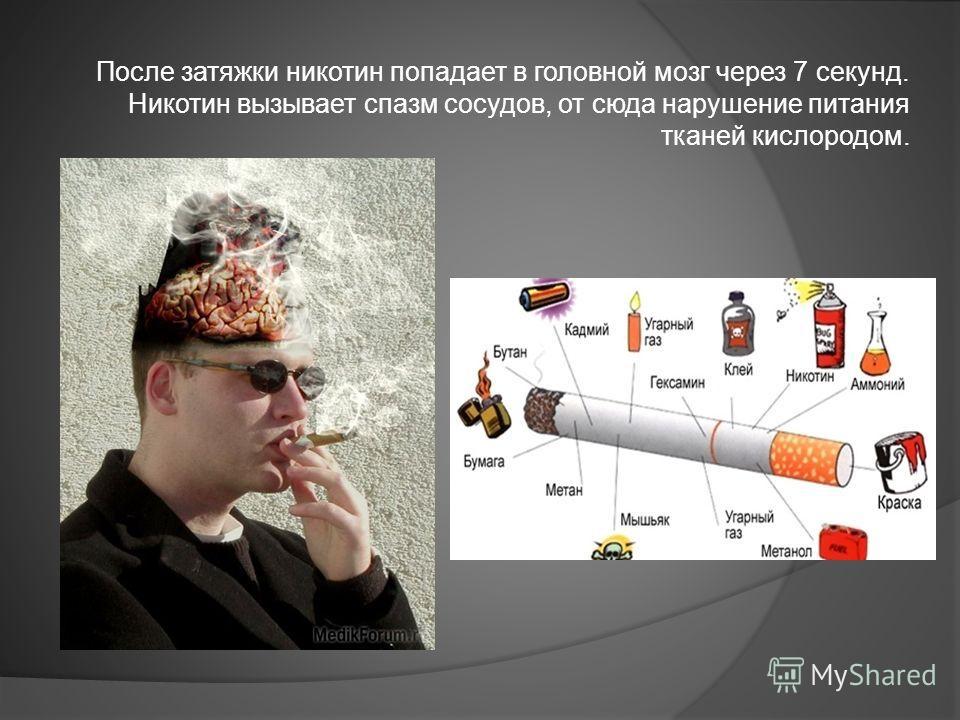 После затяжки никотин попадает в головной мозг через 7 секунд. Никотин вызывает спазм сосудов, от сюда нарушение питания тканей кислородом.