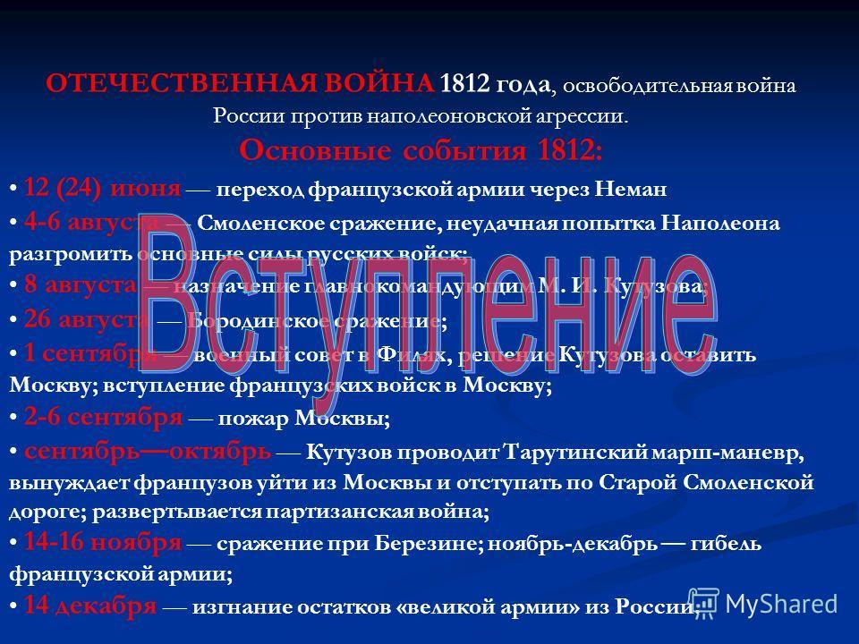 ОТЕЧЕСТВЕННАЯ ВОЙНА 1812 года, освободительная война России против наполеоновской агрессии. Основные события 1812: 12 (24) июня переход французской армии через Неман 4-6 августа Смоленское сражение, неудачная попытка Наполеона разгромить основные сил