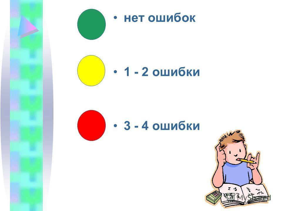 нет ошибок 1 - 2 ошибки 3 - 4 ошибки