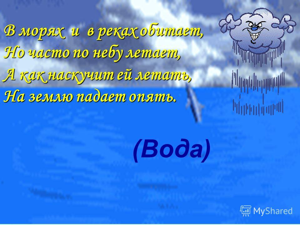 (Вода) В морях и в реках обитает, Но часто по небу летает, А как наскучит ей летать, На землю падает опять.
