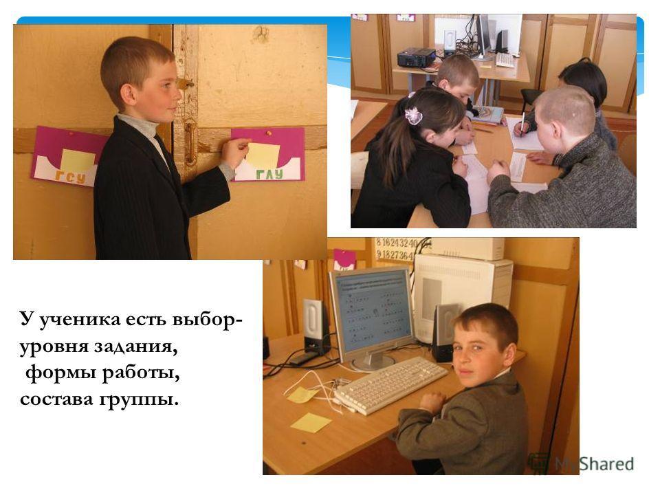 У ученика есть выбор- уровня задания, формы работы, состава группы.