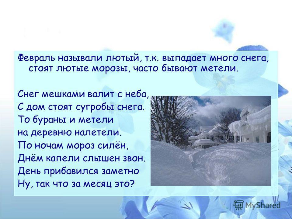 Февраль называли лютый, т.к. выпадает много снега, стоят лютые морозы, часто бывают метели. Снег мешками валит с неба, С дом стоят сугробы снега. То бураны и метели на деревню налетели. По ночам мороз силён, Днём капели слышен звон. День прибавился з