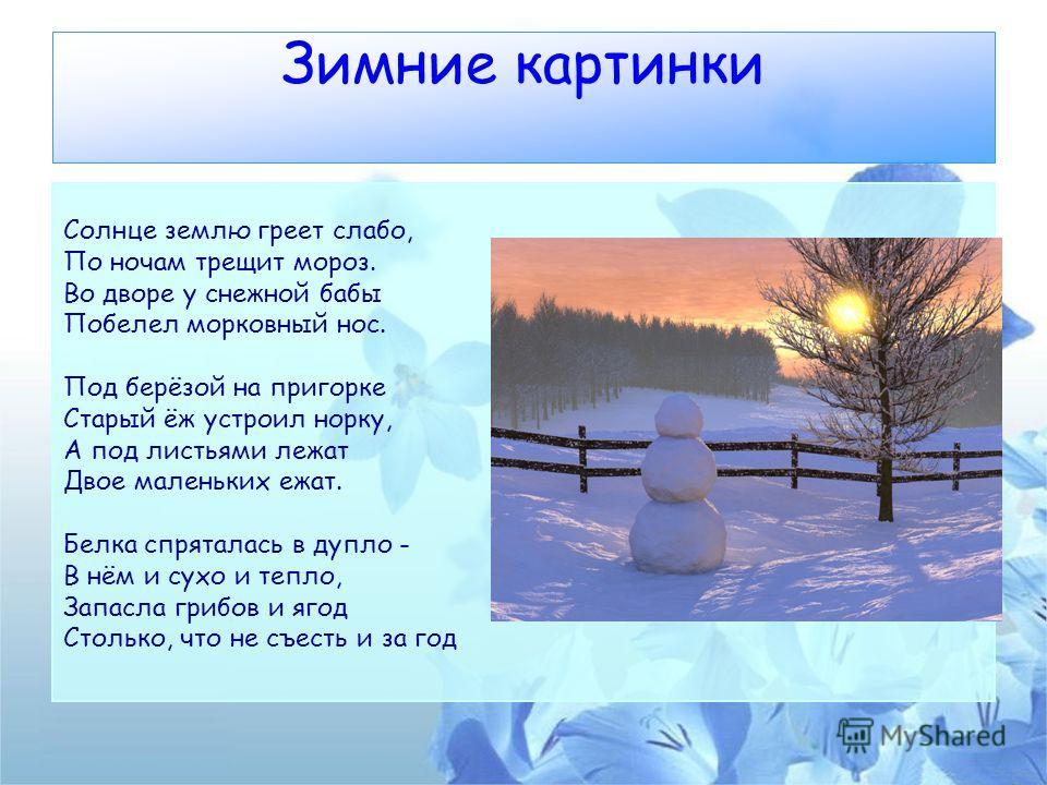 Зимние картинки Солнце землю греет слабо, По ночам трещит мороз. Во дворе у снежной бабы Побелел морковный нос. Под берёзой на пригорке Старый ёж устроил норку, А под листьями лежат Двое маленьких ежат. Белка спряталась в дупло - В нём и сухо и тепло
