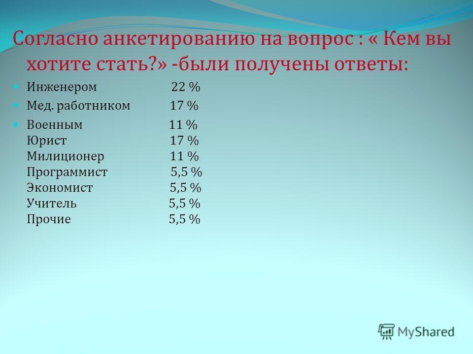 Согласно анкетированию на вопрос : « Кем вы хотите стать?» -были получены ответы: Инженером 22 % Мед. работником 17 % Военным 11 % Юрист 17 % Милиционер 11 % Программист 5,5 % Экономист 5,5 % Учитель 5,5 % Прочие 5,5 %