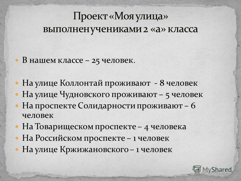 В нашем классе – 25 человек. На улице Коллонтай проживают - 8 человек На улице Чудновского проживают – 5 человек На проспекте Солидарности проживают – 6 человек На Товарищеском проспекте – 4 человека На Российском проспекте – 1 человек На улице Кржиж