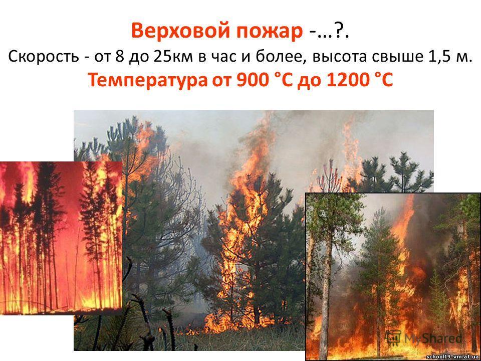 Верховой пожар -…?. Скорость - от 8 до 25км в час и более, высота свыше 1,5 м. Температура от 900 °C до 1200 °C