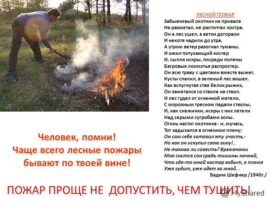 Человек, помни! Чаще всего лесные пожары бывают по твоей вине! ПОЖАР ПРОЩЕ НЕ ДОПУСТИТЬ, ЧЕМ ТУШИТЬ! ЛЕСНОЙ ПОЖАР Забывчивый охотник на привале Не разметал, не растоптал костра. Он в лес ушел, а ветки догорали И нехотя чадили до утра. А утром ветер р
