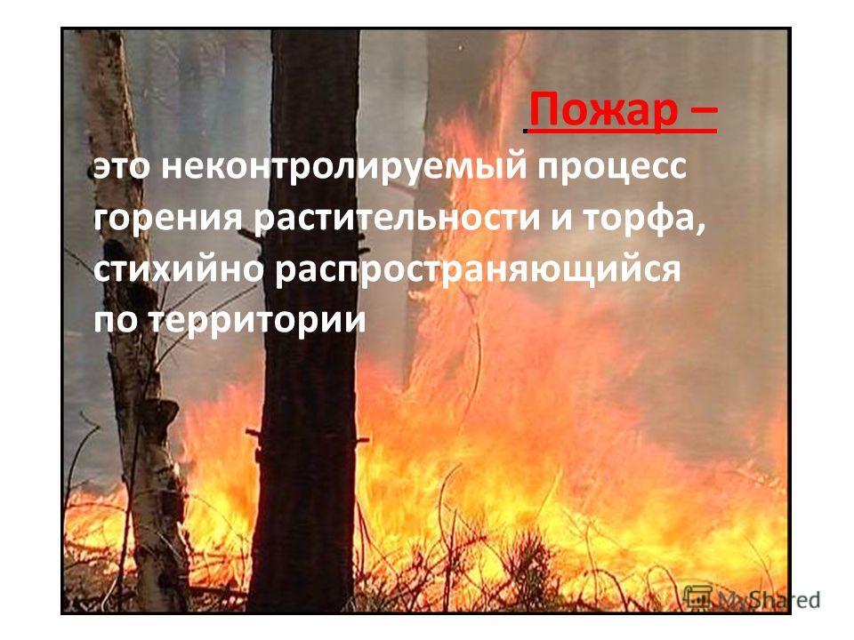 Пожар – это неконтролируемый процесс горения растительности и торфа, стихийно распространяющийся по территории