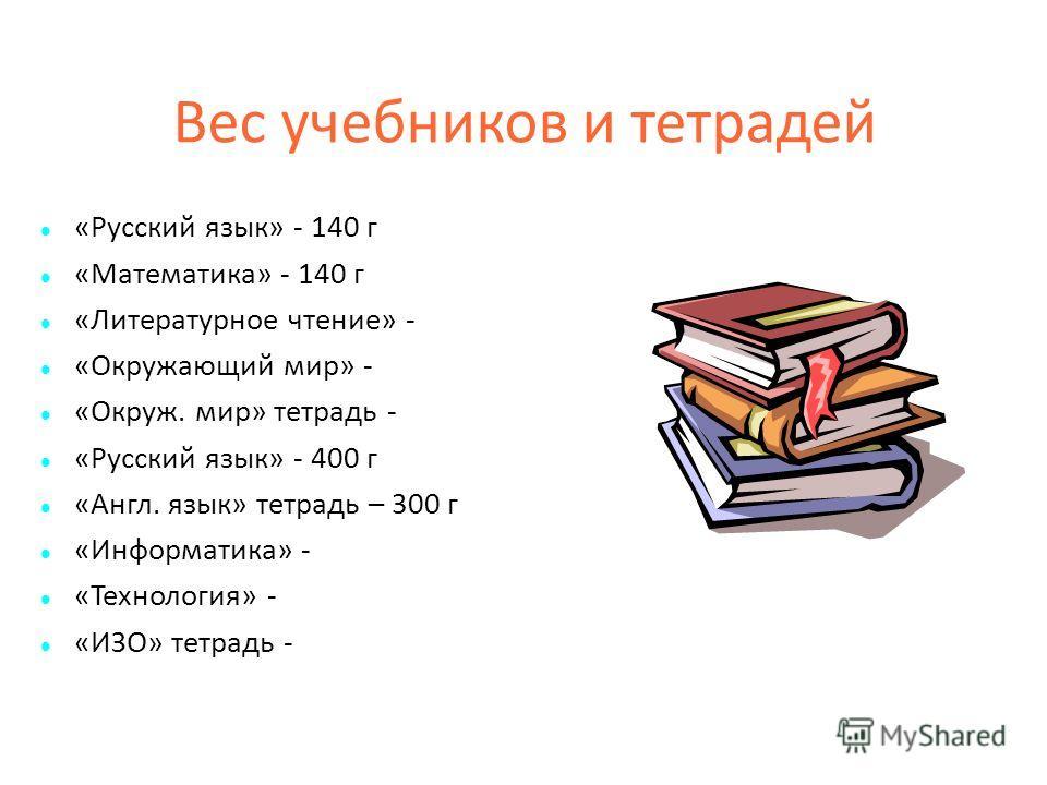 Вес учебников и тетрадей «Русский язык» - 140 г «Математика» - 140 г «Литературное чтение» - «Окружающий мир» - «Окруж. мир» тетрадь - «Русский язык» - 400 г «Англ. язык» тетрадь – 300 г «Информатика» - «Технология» - «ИЗО» тетрадь -