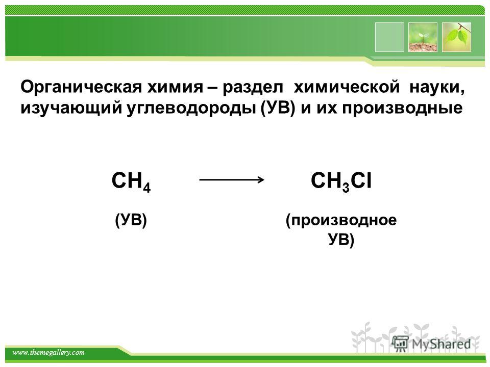 www.themegallery.com Органическая химия – раздел химической науки, изучающий углеводороды (УВ) и их производные СН 4 СН 3 Cl (УВ)(производное УВ)