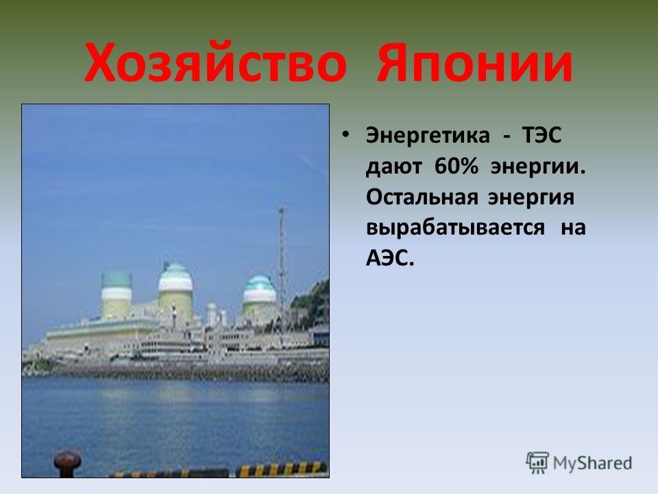 Хозяйство Японии Энергетика - ТЭС дают 60% энергии. Остальная энергия вырабатывается на АЭС.