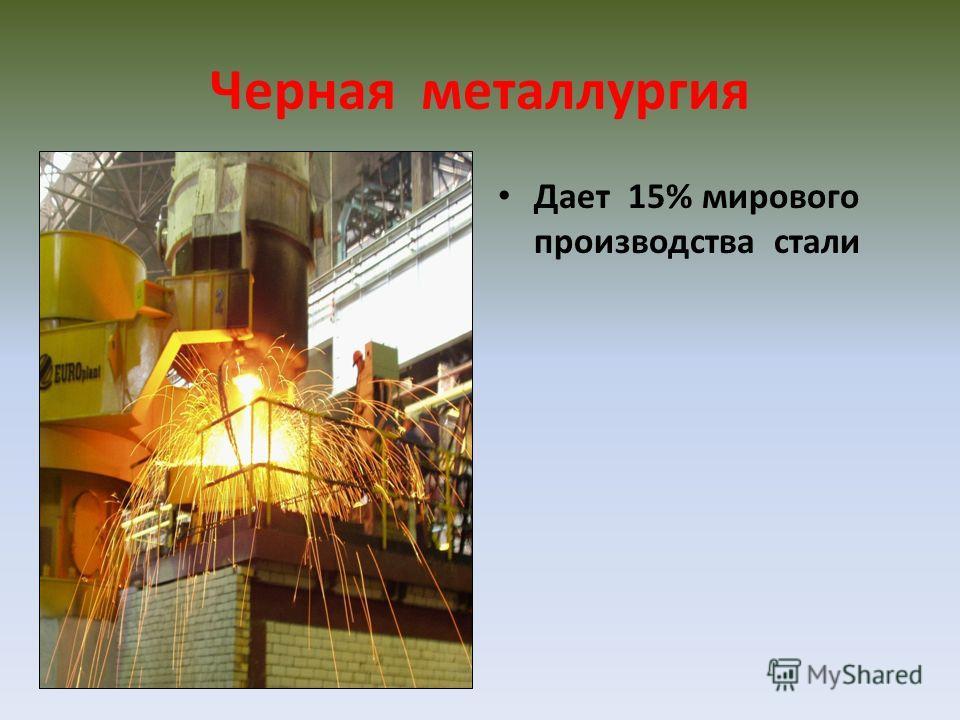 Черная металлургия Дает 15% мирового производства стали