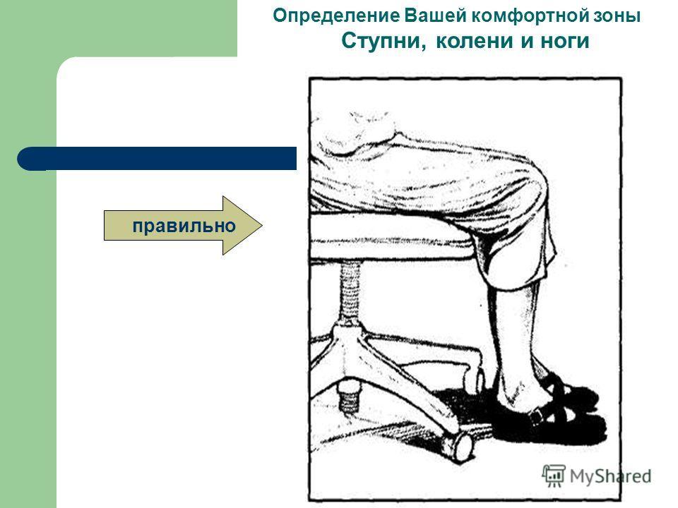 Обеспечение свободного места для ног Определение Вашей комфортной зоны Ступни, колени и ноги Убедитесь в том, что когда Вы сидите, то ступни Ваших ног удобно стоят на полу. Используйте рабочие столы с регулируемыми поверхностями и стул, который позво