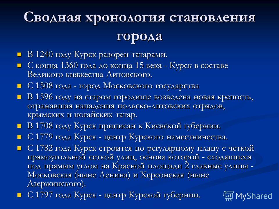 Сводная хронология становления города В 1240 году Курск разорен татарами. В 1240 году Курск разорен татарами. С конца 1360 года до конца 15 века - Курск в составе Великого княжества Литовского. С конца 1360 года до конца 15 века - Курск в составе Вел