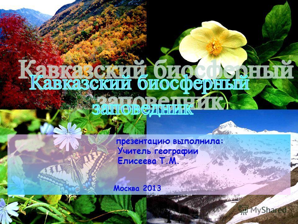 презентацию выполнила: Учитель географии Елисеева Т.М. Москва 2013